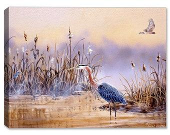 Blue Heron In Wetlands - Indoor Art or Outdoor Art