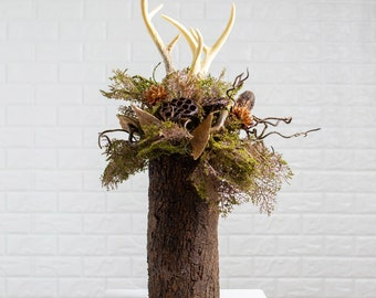 Woodland Folklore - Mossy Branch, Natural Dried Pod Mix & Faux Antler Fall Winter Arrangement in Bark Embellished Glass Vase- 2 Size Options