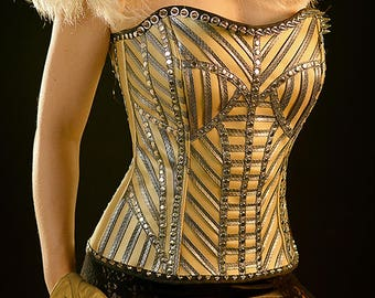 Gold and silver top corset, stage corset bridal corset, wedding corset, rock corset, gothic corset, brazilian carnival costume wedding dress