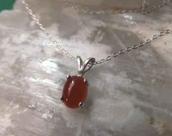 "8x6mm Carnelian Cabochon & Sterling Silver 18"" Necklace"