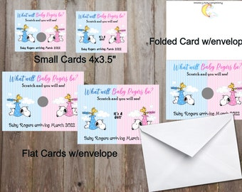 Snoopy Gender Reveal Snoopy Baby Announcement Cards Snoopy Gender Reveal Scratch Cards Snoopy Stork Foldable Scratch Cards