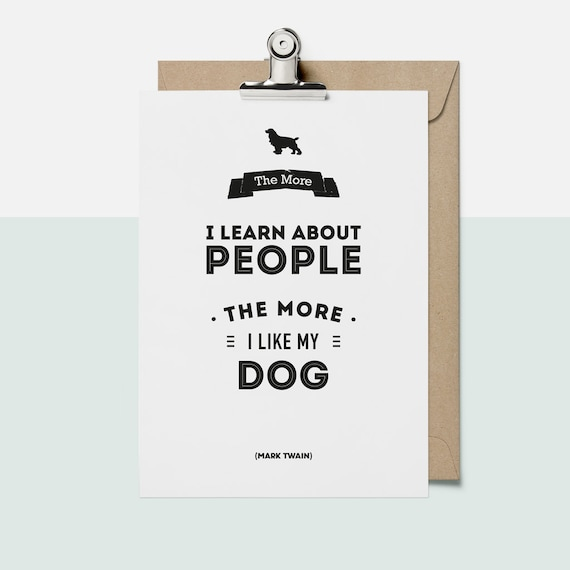 A4 A5 Mark Twain Literary Art Dog Friendly Quote Etsy