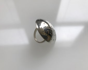 Perforated Sterling Dome Ring