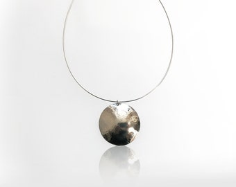 Sterling Hammered Coin Pendant Necklace