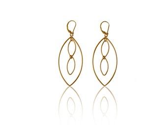 Gold Marquise Dangle Earrings