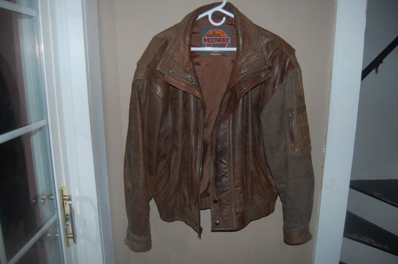 220b6b688 RARE Vintage Midway Leather Bomber Jacket Men's Akira