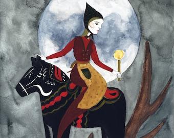 The Littlest Seamstress Original Watercolor Illustration