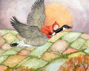 "The Dreamer Original Watercolor Children's Art Print - 8.5 x 11"""
