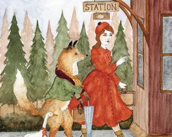 "A Weekend Trip Original Watercolor Children's Art Print - 8.5 x 11"""