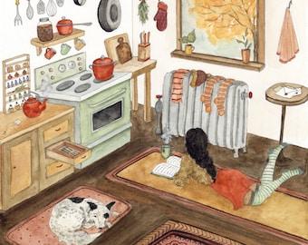 October in the Kitchen Original Watercolor Art Print - Autumn  - Cozy - Cottagecore - October