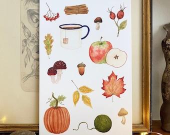 Autumn Moodboard Original Art Postcard - Vintage Autumn - Cozy Autumn