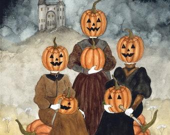 Mistresses of Pumpkin Hill Part II Original Watercolor Fine Art Print