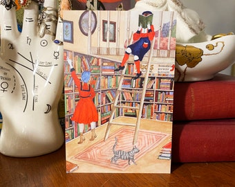 The Bookworms Original Watercolor Art Postcard - Bookshop - Cozy - Bibliophile