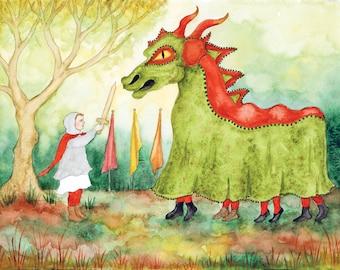 Michaelmas Original Watercolor Art Print - Waldorf - Steiner School - Seasonal Festival - St. George and the Dragon