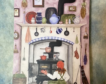 "The Berry Pie - Original Art 5x7"" Watercolor Postcard"