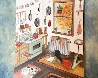 "October in the Kitchen - Original Art 5x7"" Watercolor Postcard"