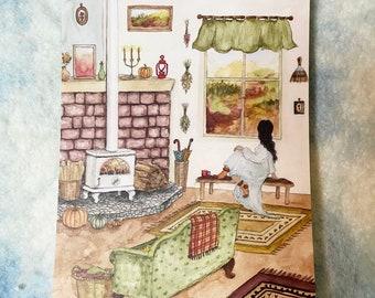 "One October Morning - Original Art 5x7"" Watercolor Postcard"