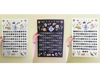 """2022 Moon Phase Calendar 13x19"""" Cold Pressed Watercolor Poster Print - Phases of the Moon"""