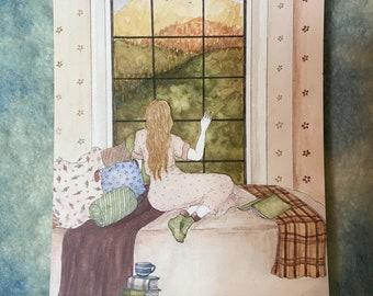 """Awaiting Autumn - Original Art 5x7"""" Watercolor Postcard"""