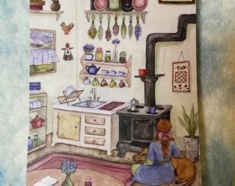 "Before Coffee - Original Art 5x7"" Watercolor Postcard"