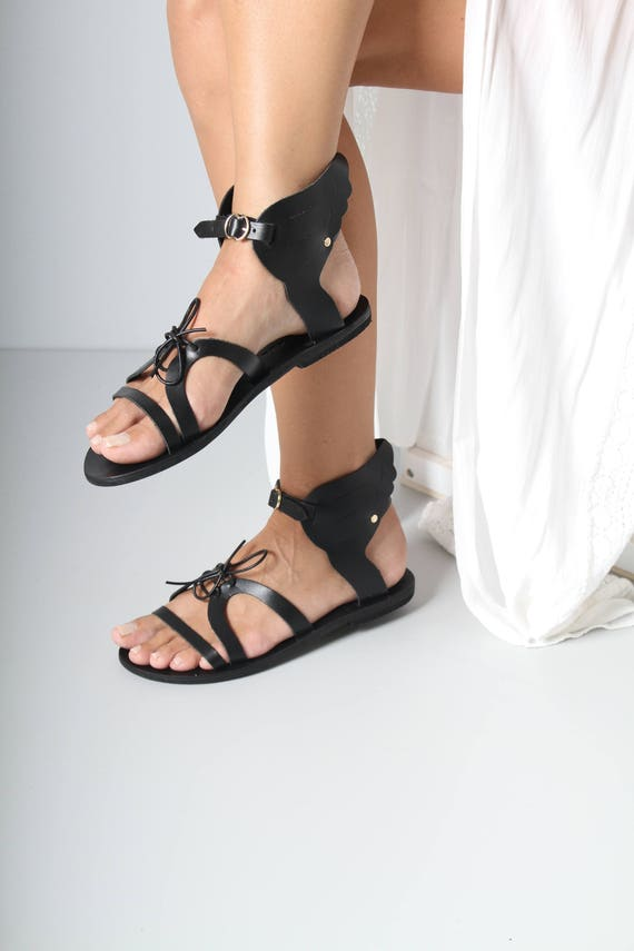 5dcc525a9c6f Black Leather Sandals with Black Sole Wing Sandals Ancient