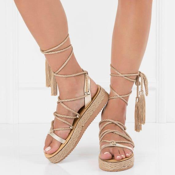 Gold platform sandals jesus sandals
