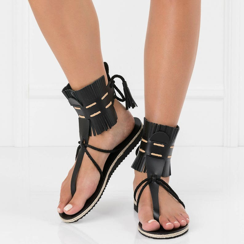 8a1d9ad1df0e Leather sandalsboho womens sandalsfringe sandalssummer flat