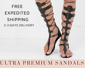 Gladiator leather sandals for women, flat lace up sandals, black thong sandals