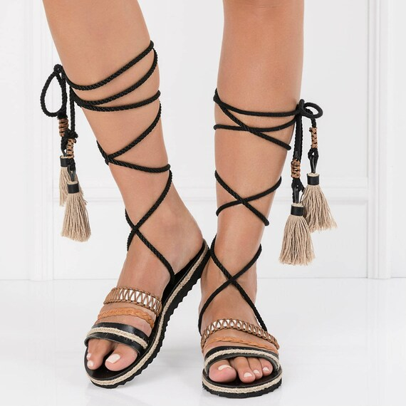 399752de1583 tie up gladiatorswrap up flat sandalsboho womens