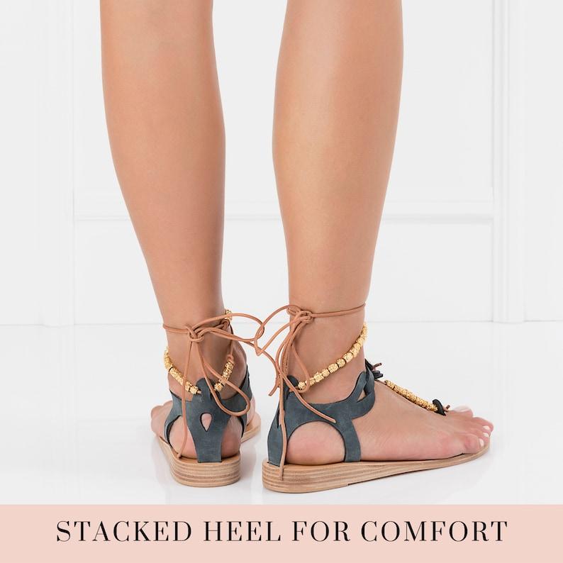 embellished ancient greek sandals wedding leather sandals boho flat strappy sandals