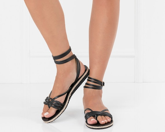 96ede8a4e087 Black Leather Sandals Rubber Bottom Sandals Womens Sandals