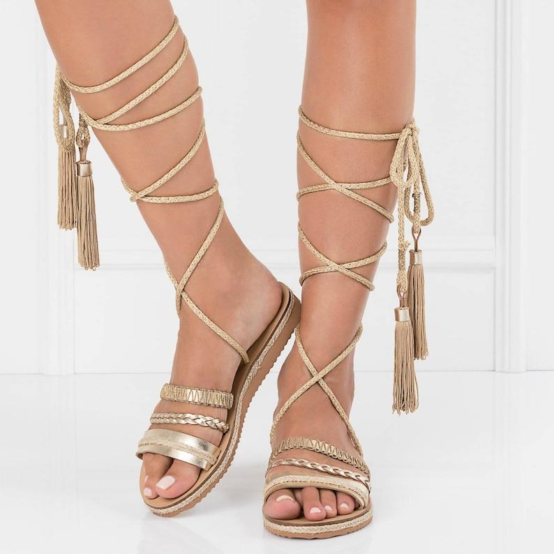 d81df35f7433 Wrap up flat sandalslace up gladiatorsboho womens