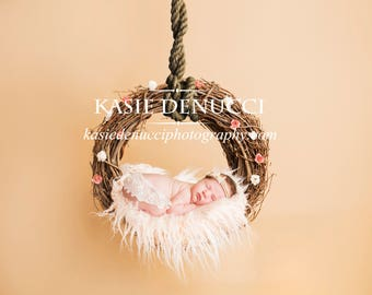 Newborn Digital Backdrop - brown, baby, girl, fur, flowers
