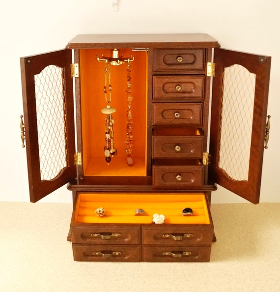 Vintage Music Jewelry Box Huge Dresser Top Armoire Etsy