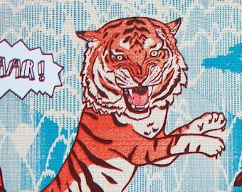 Tiger Screen Print, Limited edition Print, Screen print art, Tiger wall art - Tiger butterfly