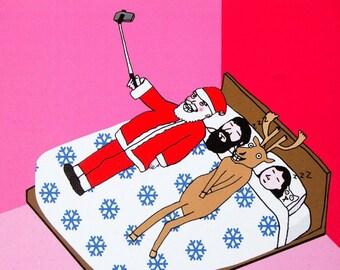 Funny Christmas Card, Christmas Cards, Naughty Santa, Santa and Rudolf, Christmas Wife, Christmas Husband, Cute, Set - SANTA SELFIE STICK