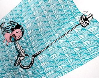 Limited Edition Screen Print. Original Wall Art. Contemporary Print. Quirky. Geometric.  Scandinavian. Pattern. Sea. Turquoise - Mermanmaid