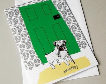 Pug Card, Pug Birthday Card, Pug Illustration, Dog Card, Cute, Cute Card, Animal illustration, Quirky Illustrated Greeting Card - Walkies!