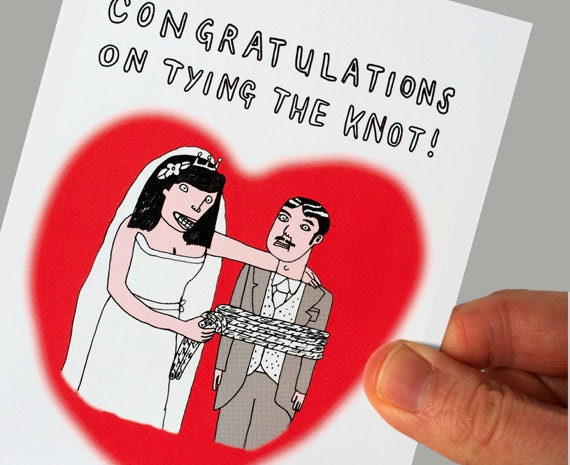 Image of: Rope Image Funny Congratulations Wedding Card Inappropriate Card Dark Etsy