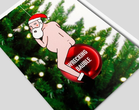 Miley Cyrus Wrecking Ball Christmas Ornament.Funny Christmas Card Christmas Rude Card Naughty Santa Funny Xmas Naughty Christmas Inappropriate Card Miley Cyrus Wrecking Bauble