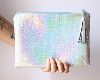 Mermaid Crossbody / Crossbody bag, Clutch bag, Holographic bag, iridescent bag, customizable color zipper