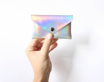 Rainbow Card holder / Holographic wallet, iridescent card holder, faux leather, small wallet