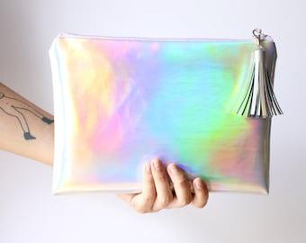 Rainbow Crossbody / Crossbody bag, clutch bag, Mermaid handbag, Holographic bag, iridescent bag, faux leather, Customizable