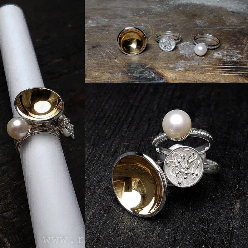 Gold plated sterling silver sing setOcean pearl ring 24K gold Handmade rings Sterling silver rings