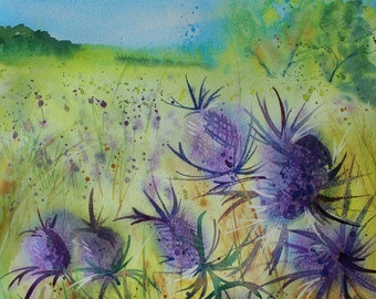 Original watercolour landscape of purple Thistles, loose and expressive floral painting of thistles in a Cornish field
