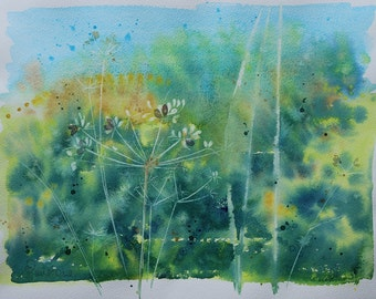 Original flower watercolour painting, floral art, summer flowers, flower art, flower painting, cornish hedgerow, hedgerow art