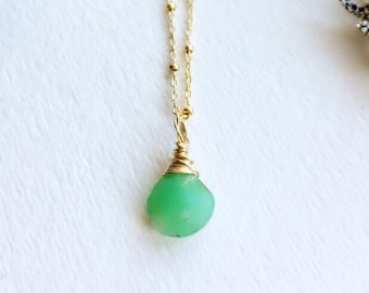 Chrysoprase necklace gold filled bead chain