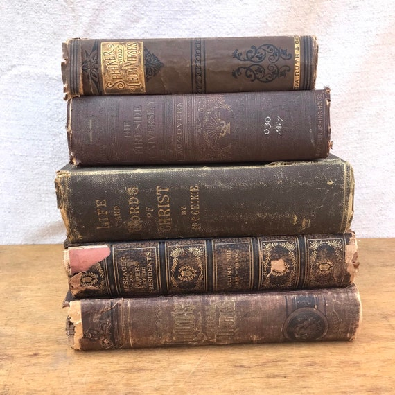 Lot Decorative distressed antique vintage Brown Hardcover Books. BOOK STACK  Photo Prop. steampunk victorian medieval tattered 1800s