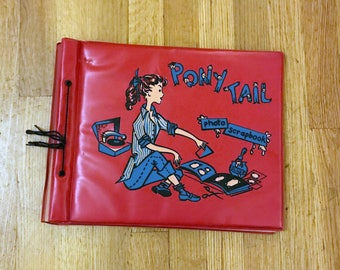 Vintage Mid Century 1950s 1960s Red Pony Tail Photo scrapbook. Photo album. Teen girl with record player