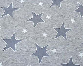 a04a6899af8 Heather Gray Cotton Jersey Star Fabric by the Yard Patriotic Burnout Stars  10/15